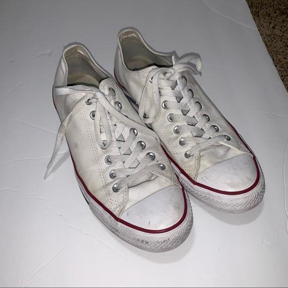Converse White Low Tops, Men's Size 10